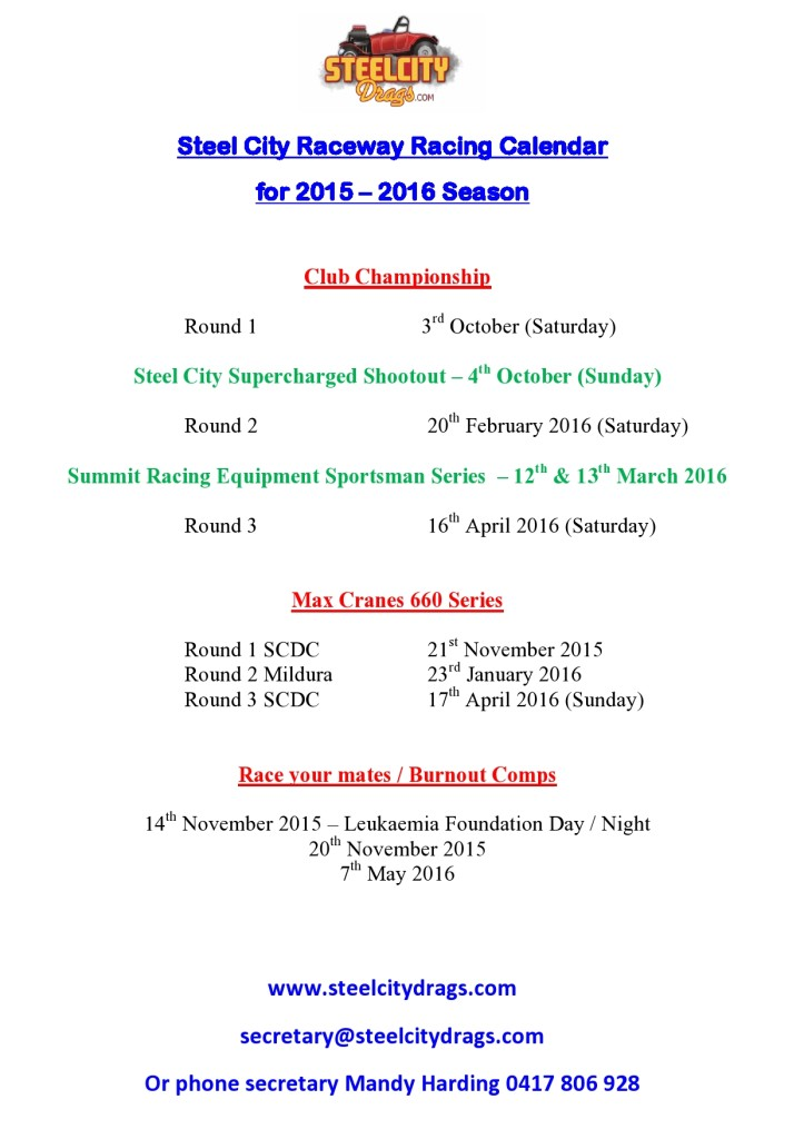 Revised Race Dates 2015-2016