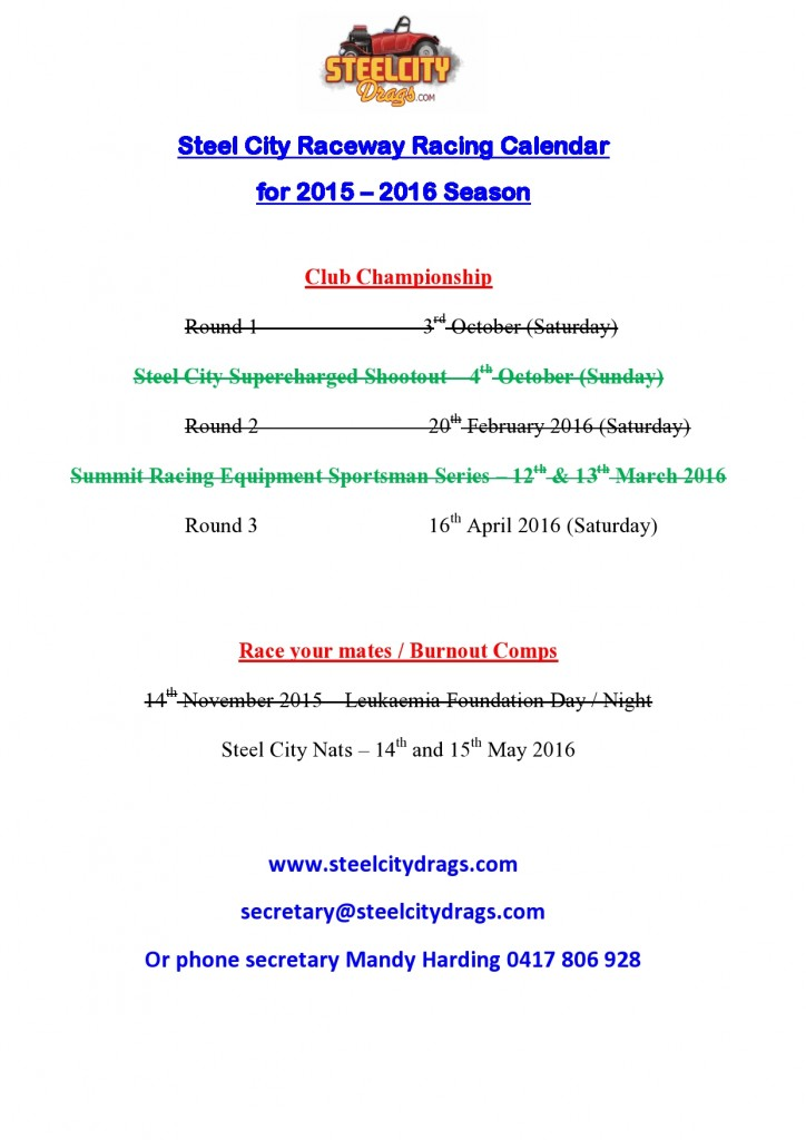 Revised Race Dates 2015-2016 March