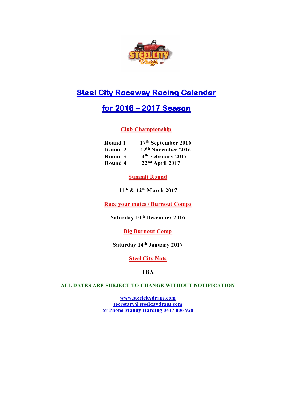Steel City Raceway Racing Calendar