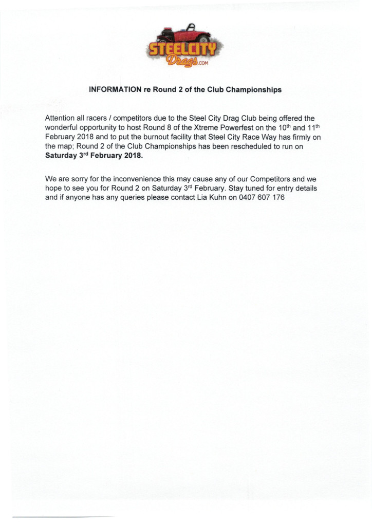 Information re Club Championships